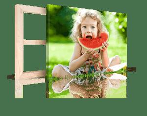 Foto op canvas met Kerst_2 Voorbeeld met kind en meloen