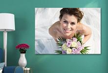 Foto op canvas met bruid van boven