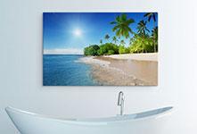 Foto op canvas met strand en palmen in de badkamer