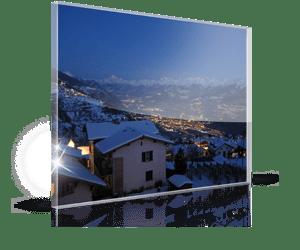 Foto op plexiglas met Kerst 2_Voorbeeld met dorp in bergen