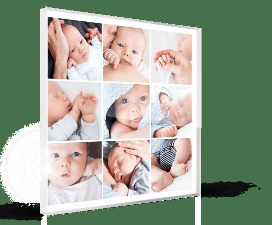 Fotocollage op plexiglas in perspectief met baby