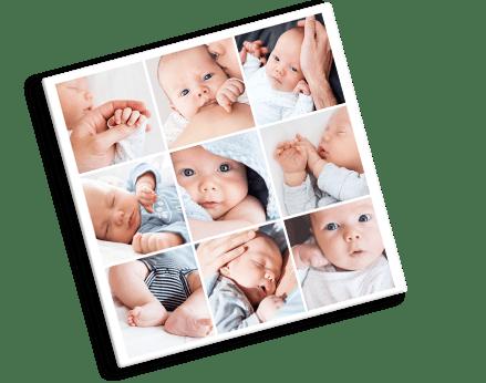 Fotocollage op plexiglas van baby