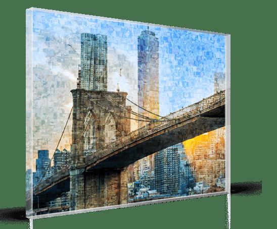 Fotomozaiek op plexiglas met brug