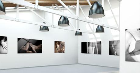 Grote ruimte met foto's op aluminium