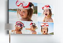 Kinderfotocollage met meisje op het strand