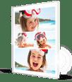 Klein meisje aan zee op fotocollage