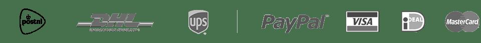 Logo's bezorgservices en betaalmogelijkheden