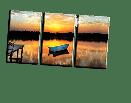Plexiglas drieluik met boot en zonsondergang