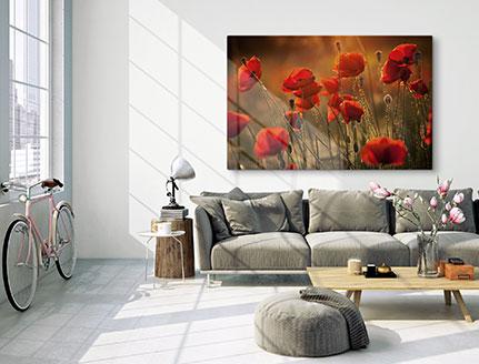 Woonkamer met foto canvas van bloemenweide