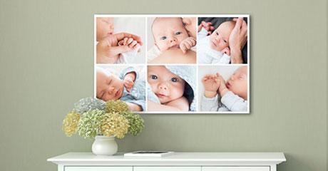 Woonruimte fotocollage met baby op plexiglas aanzicht