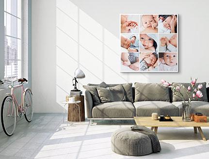Woonruimte met fotocollage van baby