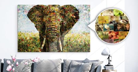 Woonruimte met fotomozaiek van olifant aanzicht